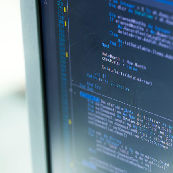 写真:ディスプレイに映るプログラミング言語